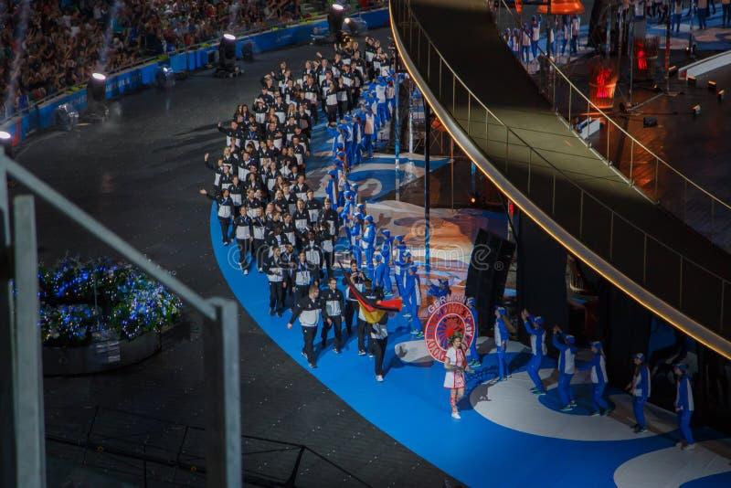 Minsk, Bielorrússia 21 de junho de 2019: A equipe nacional de Alemanha na cerimônia de inauguração dos segundos jogos europeus em foto de stock