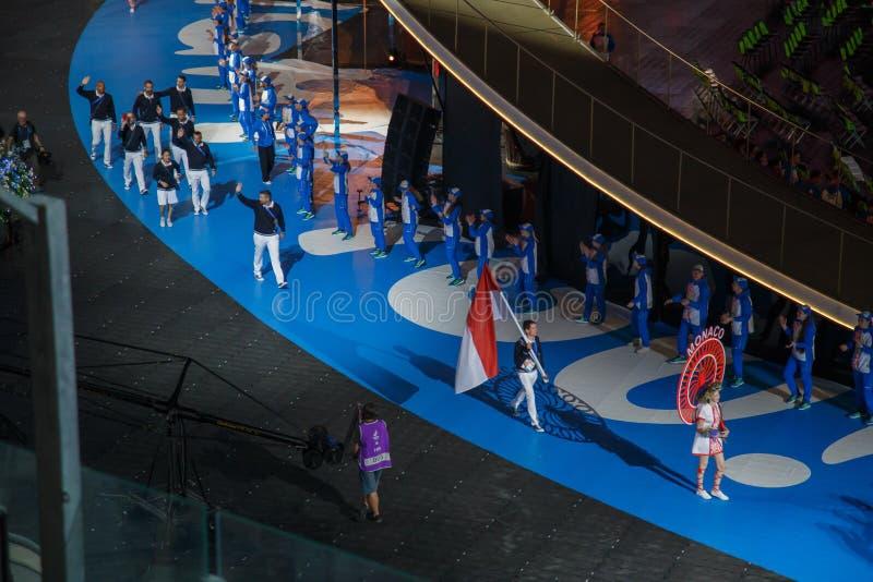 Minsk, Bielorrússia 21 de junho de 2019: A equipe nacional de Mônaco na cerimônia de inauguração dos segundos jogos europeus em M foto de stock royalty free