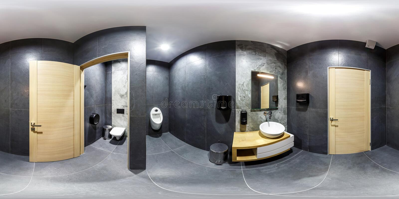 MINSK, BIELORRÚSSIA - EM JANEIRO DE 2019: panorama esférico sem emenda completo 360 graus de opinião de ângulo no toalete à moda  imagem de stock royalty free