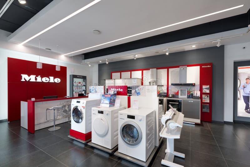 Minsk, Bielorrússia - junho 25,2017: Escritório de vendas de Miele em Minsk imagem de stock