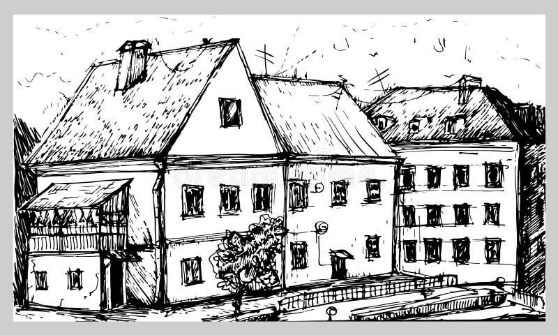 Minsk Bielorrusia, suburbio de la trinidad Tinta, dibujo de la mano en el backgro blanco stock de ilustración
