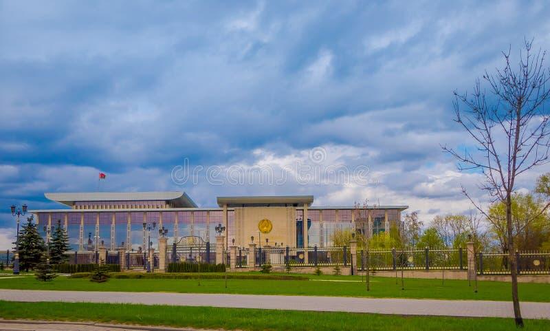 MINSK, BIELORUSSIA - 1° MAGGIO 2018: Scrittura: Palazzo dell'indipendenza, residenza di presidente della Repubblica Bielorussia P fotografia stock libera da diritti