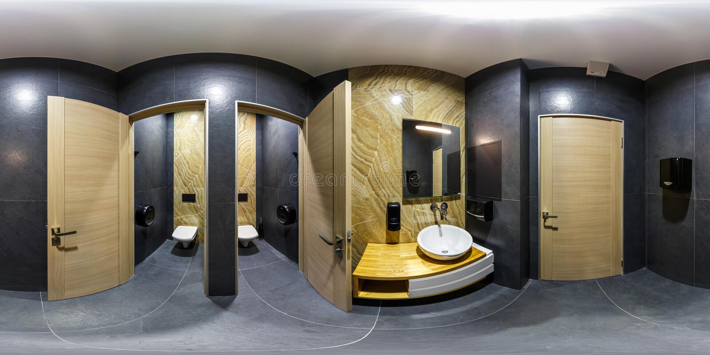MINSK, BIELORUSSIA - GENNAIO 2019: panorama sferico senza cuciture completo 360 gradi di vista di angolo nella toilette alla moda fotografie stock libere da diritti