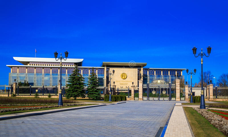 Minsk, Bielorussia, il palazzo di indipendenza fotografia stock