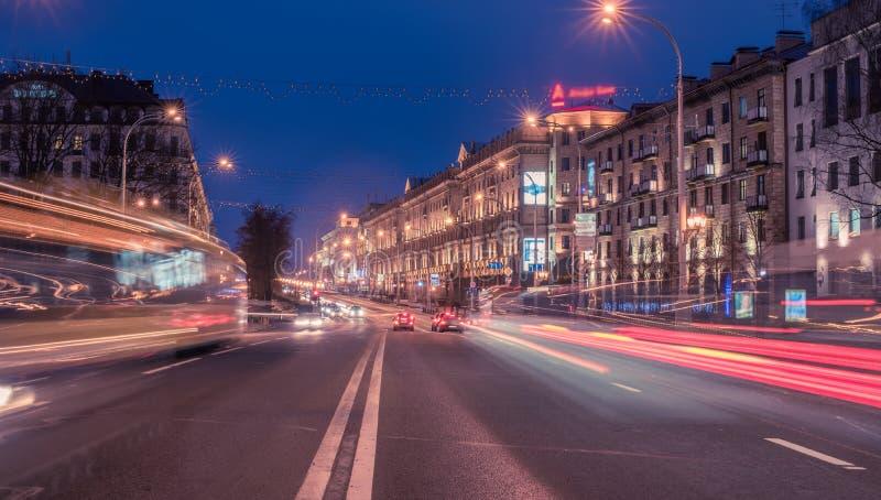 Minsk, Bielorussia: Lenin, omicidio di Bolscevico, via nel tramonto fotografia stock