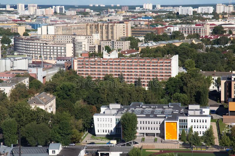 Aerial view of the southeastern part of the Minsk with old soviet buildings. Minsk is the capital and largest city of Belarus royalty free stock photography