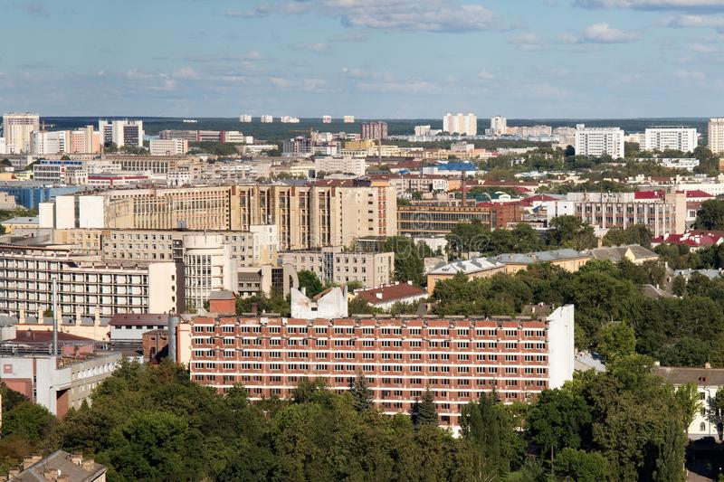 Aerial view of the southeastern part of the Minsk with old soviet buildings. Minsk is the capital and largest city of Belarus royalty free stock photos