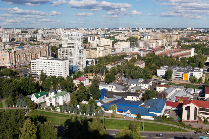 Aerial view of the southeastern part of the Minsk with old soviet buildings. Minsk is the capital and largest city of Belarus stock image