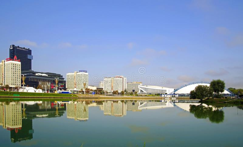Minsk city. Embankment of the Svisloch River. Quiet windless day. August. Summer. reflection royalty free stock photos