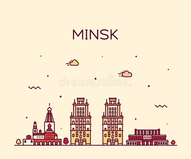 Minsk linia horyzontu Białoruś wektorowy ilustracyjny liniowy ilustracja wektor