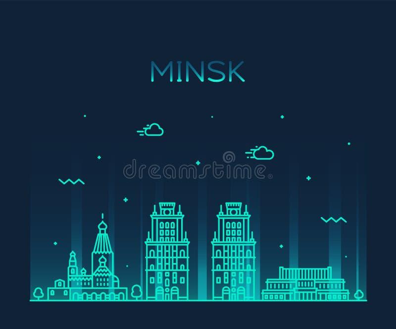 Minsk linia horyzontu Białoruś wektorowy ilustracyjny liniowy royalty ilustracja
