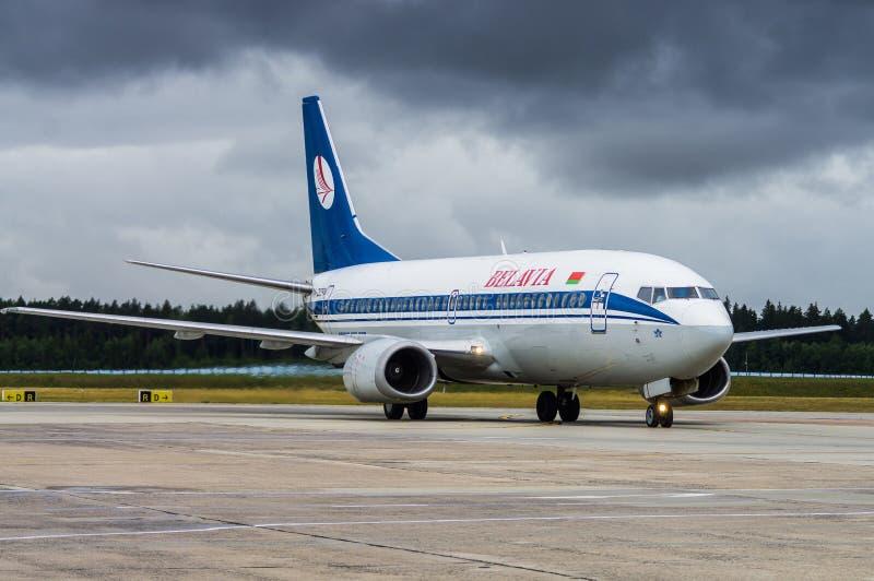Minsk, Minsk National Airport, Belarus - July 16, 2015: Boeing 737-300  EW-282PA Belavia Airways.  stock photos
