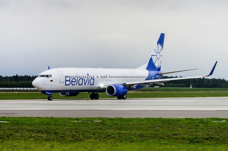 Minsk, Minsk National Airport, Belarus - September 06, 2017: Boeing 737-800 EW-455PA Belavia Airways in new livery stock image
