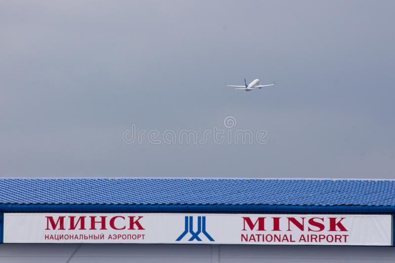 Minsk national airport with boeing 737 Belavia stock image