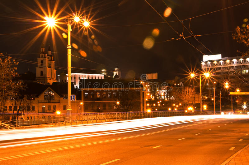 Minsk at night stock images
