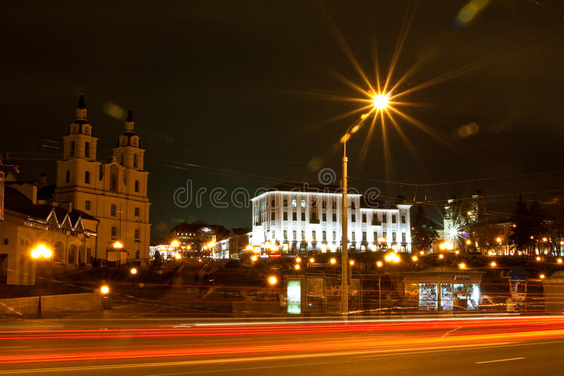 Minsk at night stock photos