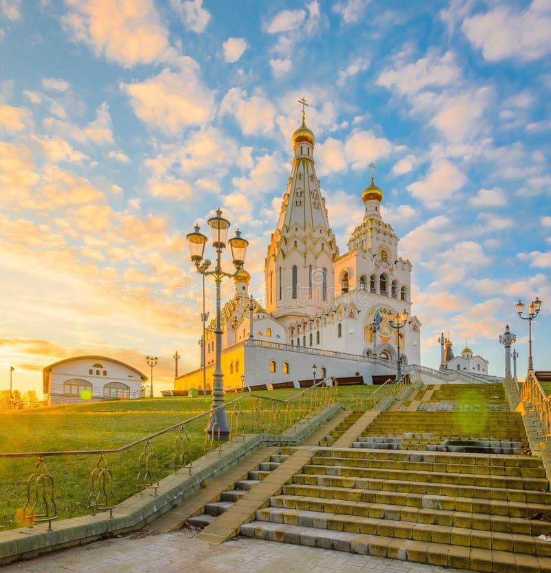 Minsk Pamiątkowy kościół Wszystkie święty przy świtem obrazy royalty free