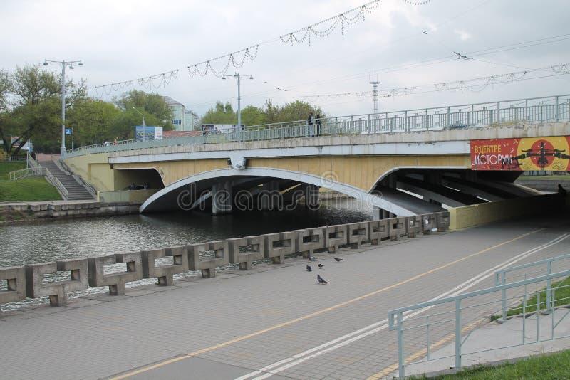 Minsk. Panorama on Humpback bridge under river Svisloch , May, 2015, Minsk stock photos