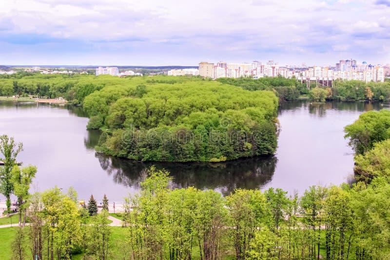 Minsk, république de Bielorussie Lac victory Park Komsomol image libre de droits