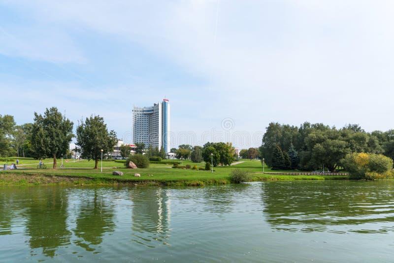 Minsk, Republic of Belarus. - September 8, 2018: Panoramic view of the Hotel Belarus in Minsk, Republic of Belarus royalty free stock photo