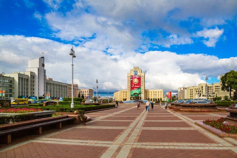 Minsk självständighetfyrkant arkivfoto