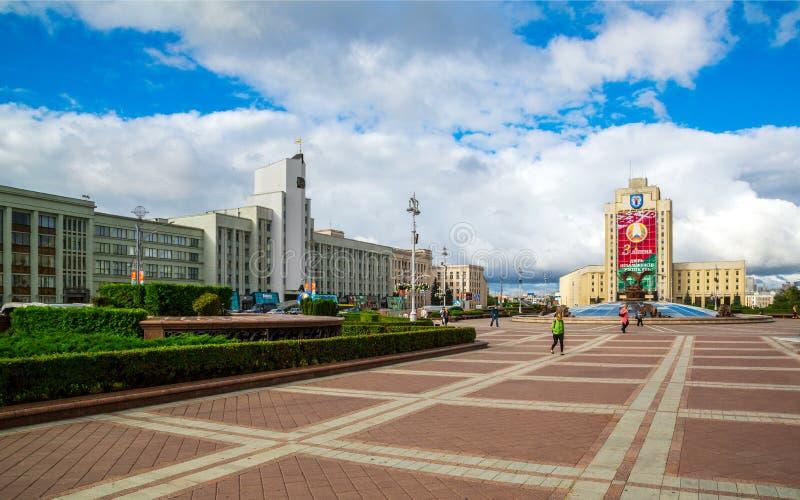 Minsk självständighetfyrkant royaltyfri bild