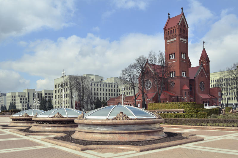Download Minsk square stock image. Image of catholic, church, architecture - 24329331