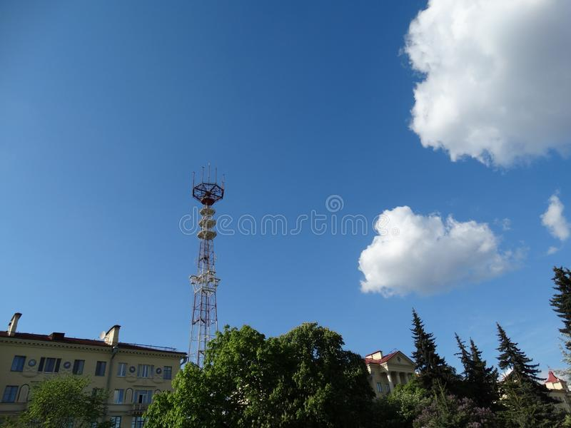 Minsk, tower, telecommunications, journalism, television, broadcasting, satellite, antenna, ONT, TV channels, view from Victory Sq. Uare, after houses, roofs stock photos