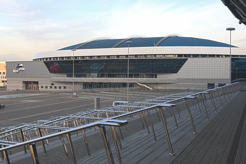 Minsk Velodrome sporta miejsca wydarzenia strzał od schodków Minsk - arena lód zdjęcie stock