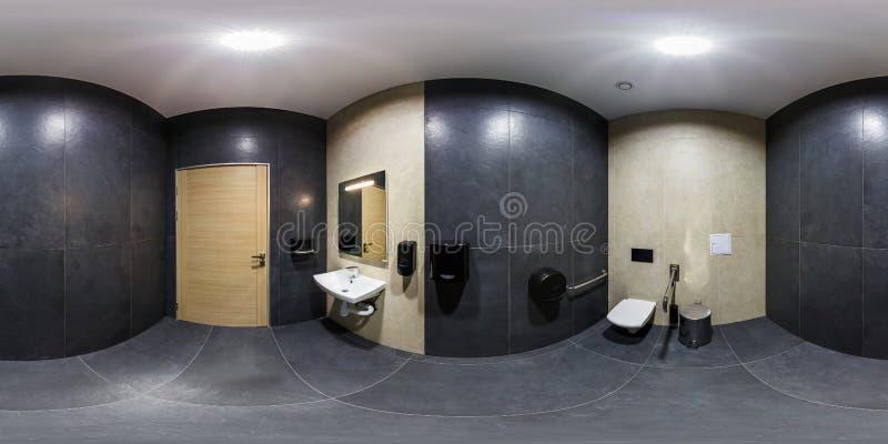 MINSK VITRYSSLAND - JANUARI, 2019: full sömlös sfärisk panorama 360 grader vinkelsikt i inre badrumtoalett i modernt arkivfoto