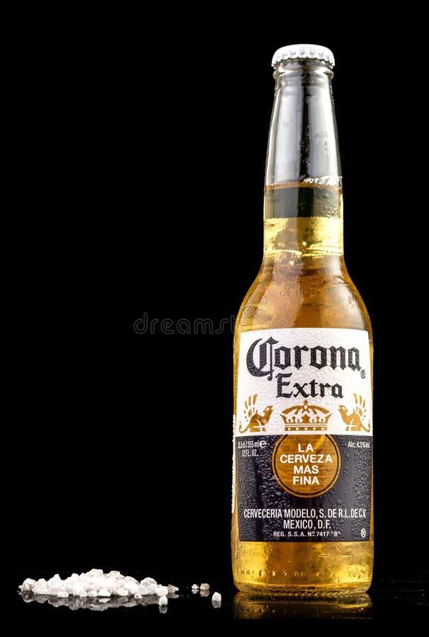 MINSK VITRYSSLAND - JULI 10, 2017: Redaktörs- foto av flaskan av Corona Extra öl som isoleras på svart, en av densäljande ölworen royaltyfri fotografi