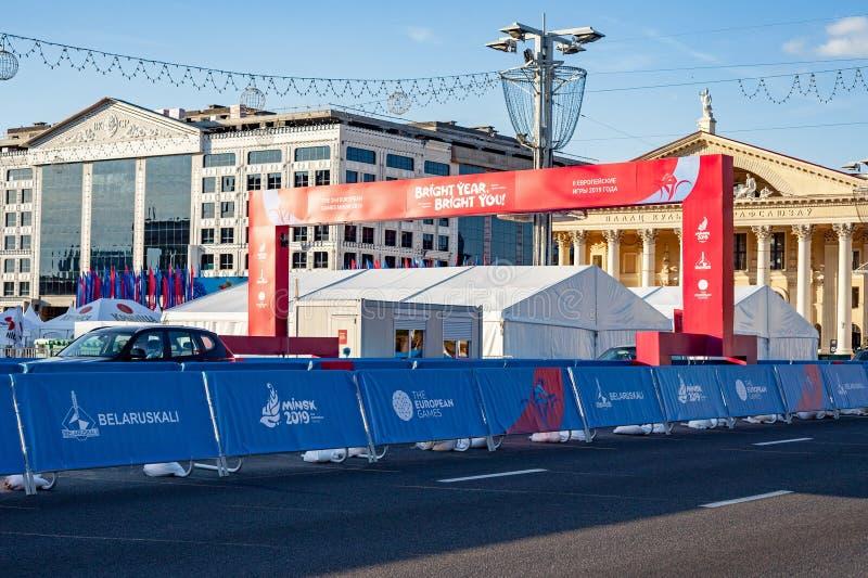 Minsk Vitryssland, Juni 22, 2019: Fullföljande av avståndet av sportkonkurrenser i de 2ND EUROPEISKA LEKARNA i staden av Minsk royaltyfri foto