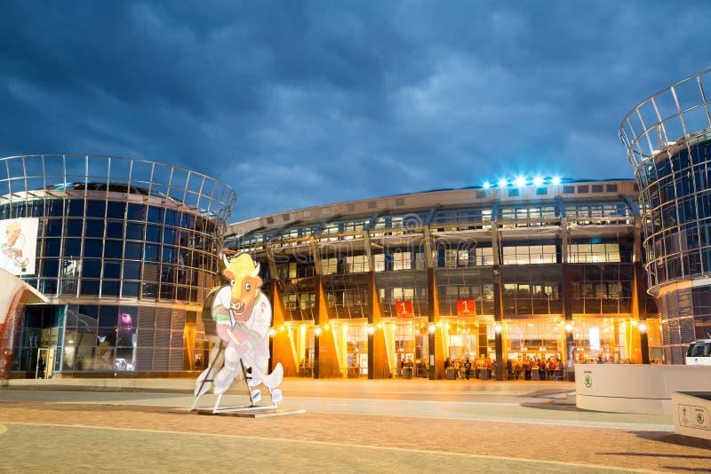 MINSK VITRYSSLAND - MAJ 11 - Chizhovka arena på Maj 11, 2014 i Minsk, Vitryssland Ishockeyvärldsmästerskap (IIHF) arkivbilder