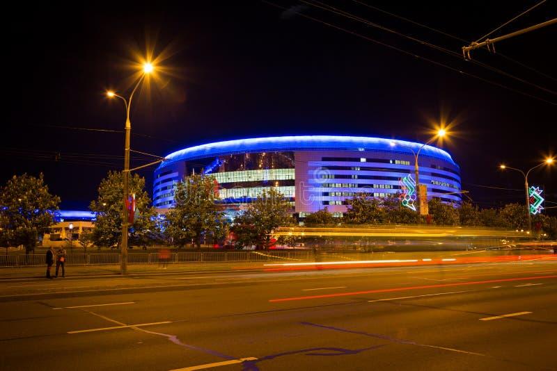 MINSK VITRYSSLAND - MAJ 9 - Minsk arena på Maj 9, 2014 i Vitryssland Ishockeymästerskapöppning royaltyfria bilder