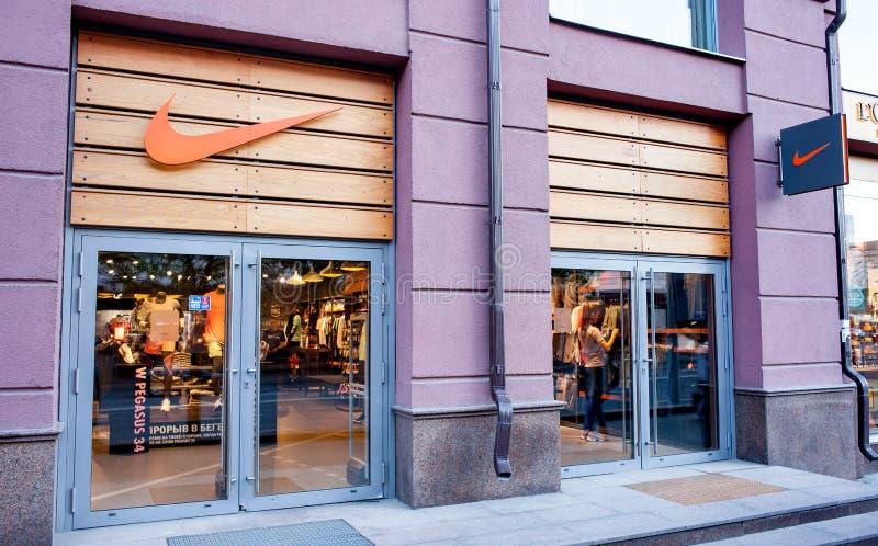 Minsk Vitryssland, Maj 7, 2018: Nike lager på Minsk, Vitryssland arkivfoton