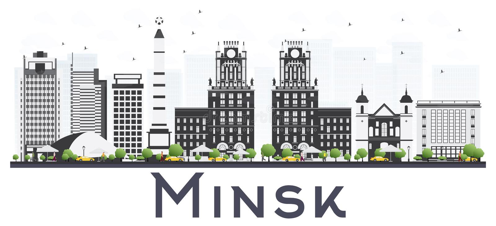 Minsk Vitryssland stadshorisont med Gray Buildings Isolated på vit vektor illustrationer