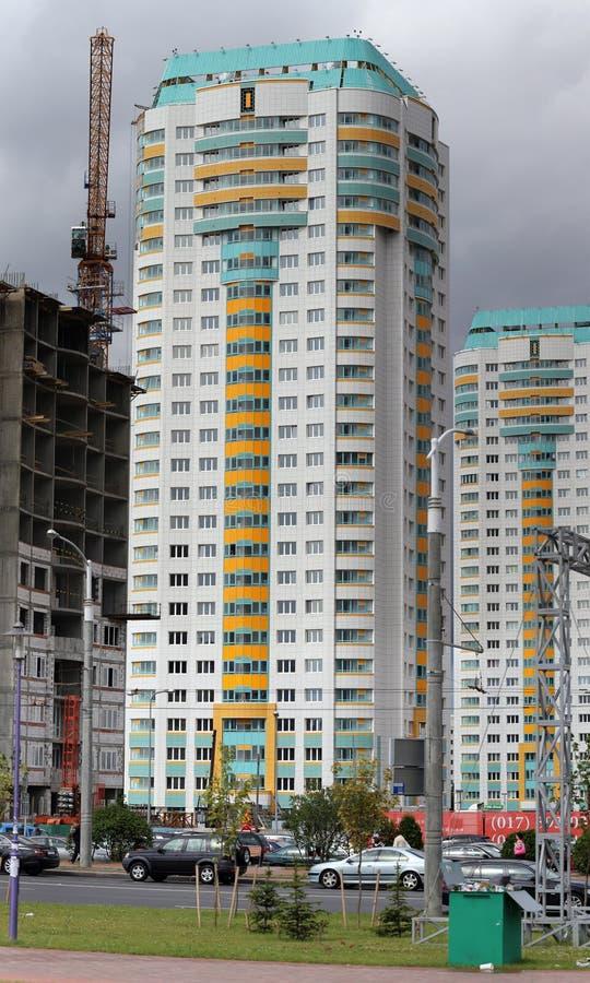 Minsk, Weißrussland. Das neue builded lebende Haus lizenzfreie stockfotografie