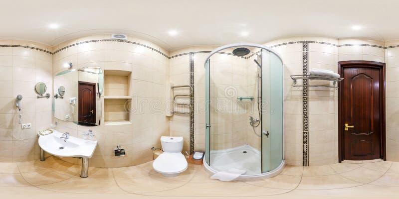 MINSK, WEISSRUSSLAND - DEZEMBER 2018: volles nahtloses kugelf?rmiges hdri Panorama 360 Grad Winkelsicht in der Innenbadezimmertoi stockfotografie