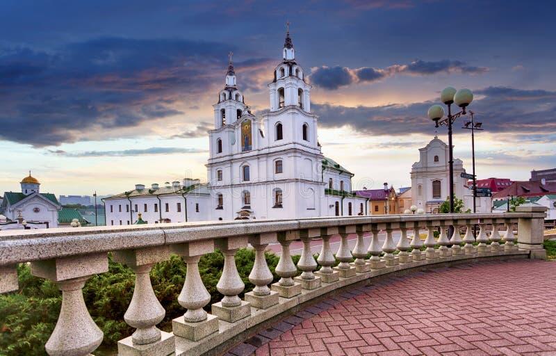 Minsk, Wit-Rusland De Kathedraal van Heilige Geest in Minsk - de Belangrijkste Orthodoxe Kerk van Wit-Rusland en Symbool van Kapi stock afbeeldingen