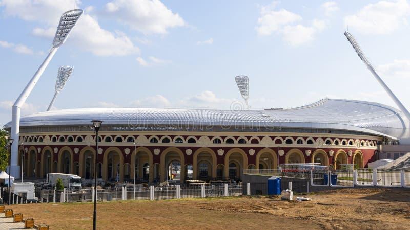 Minsk, Wit-Rusland, 9 Juni, 2019 2 Europese Spelen Één van de stadions waar de Europese Spelen zullen worden gehouden stock foto's