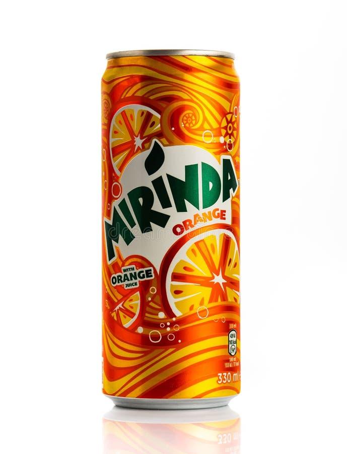 MINSK, 31 WITRUSSISCH-OKTOBER, 2018: Kan van Mirinda-sinaasappel Mirinda royalty-vrije stock afbeelding
