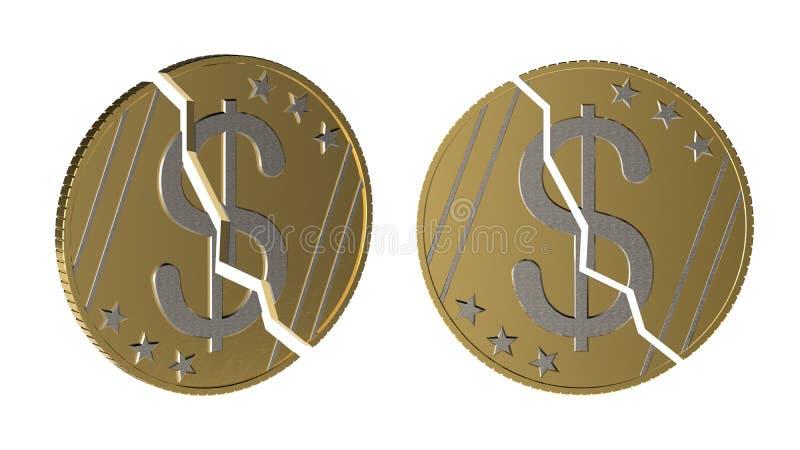 Minska i dollarvärdebegrepp Dollarmyntet är delade itu itu vinklar Nedgången i värdet av dollaren Valuta dep stock illustrationer