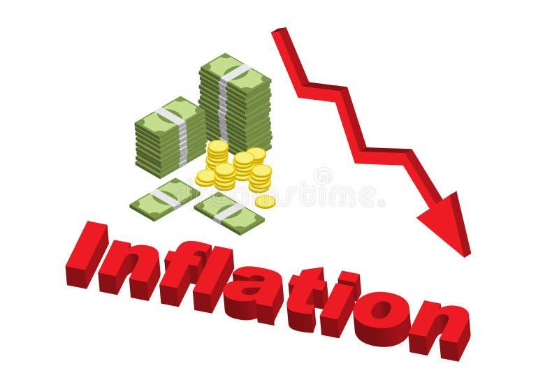 Minskande värde av pengareffekt från inflation med ner pilen royaltyfri illustrationer