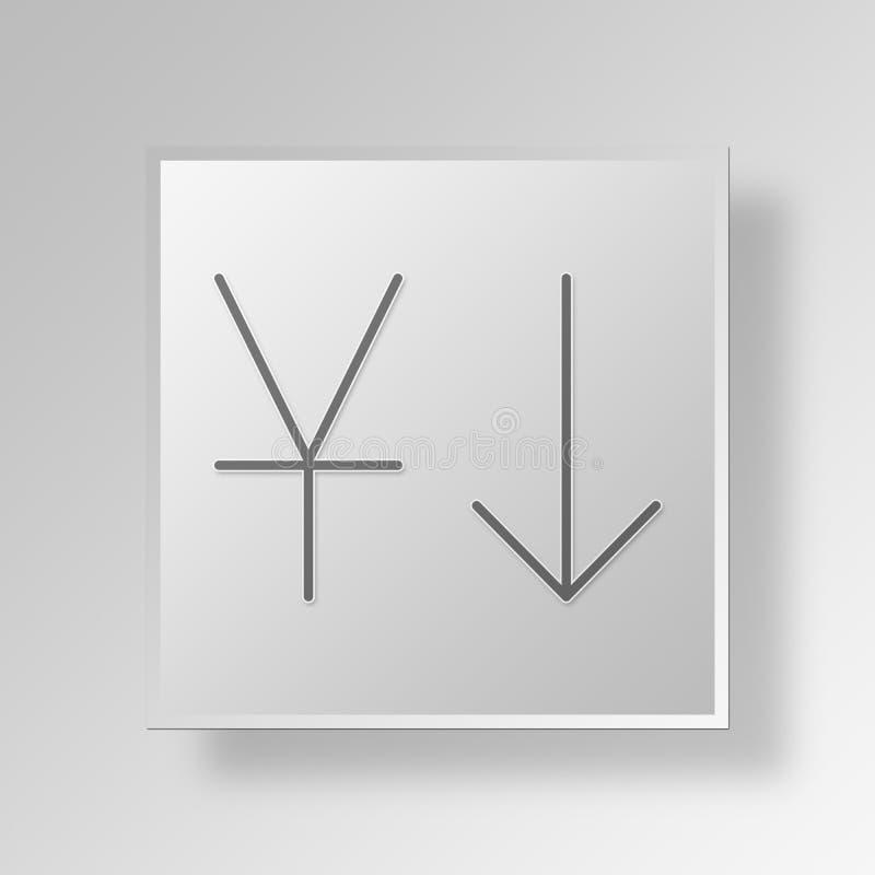 minskning 3D i Yuan symbolsaffärsidé vektor illustrationer