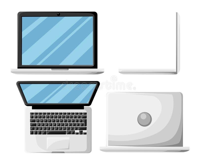 Minsta bärbar dator som isoleras på den vita bakgrundslägenhetdesignen för för marknadsföringsbankrörelsen för affär kommersiell  stock illustrationer