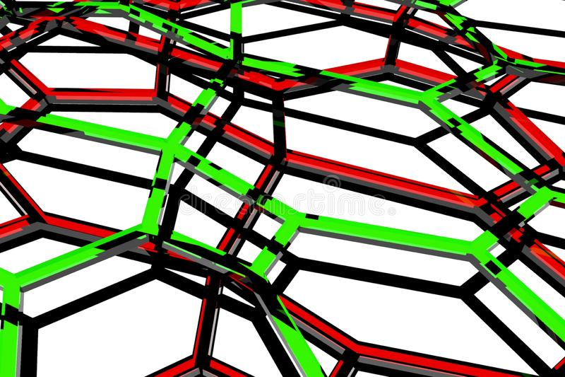 Minsta bakgrund att framföra organiska abstrakta former för sexhörningar 3d arkivbilder