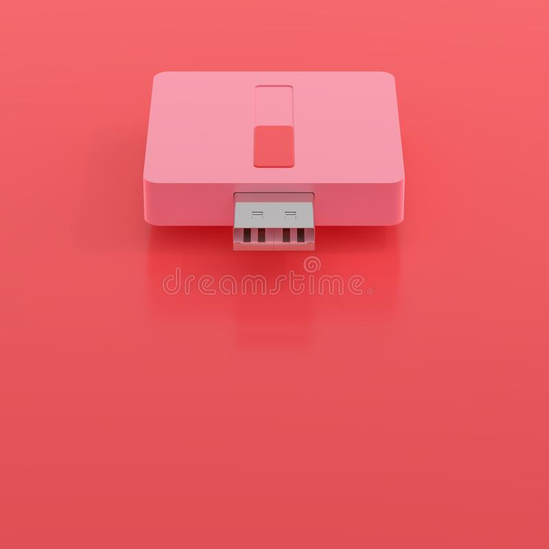 Minsta begrepp, färg för USB prålig drevrosa färger stock illustrationer