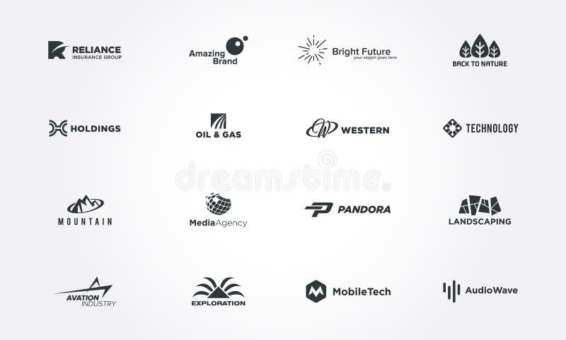 Minsta begrepp för logodesignsamlingar idérik designvektorillustration vektor illustrationer