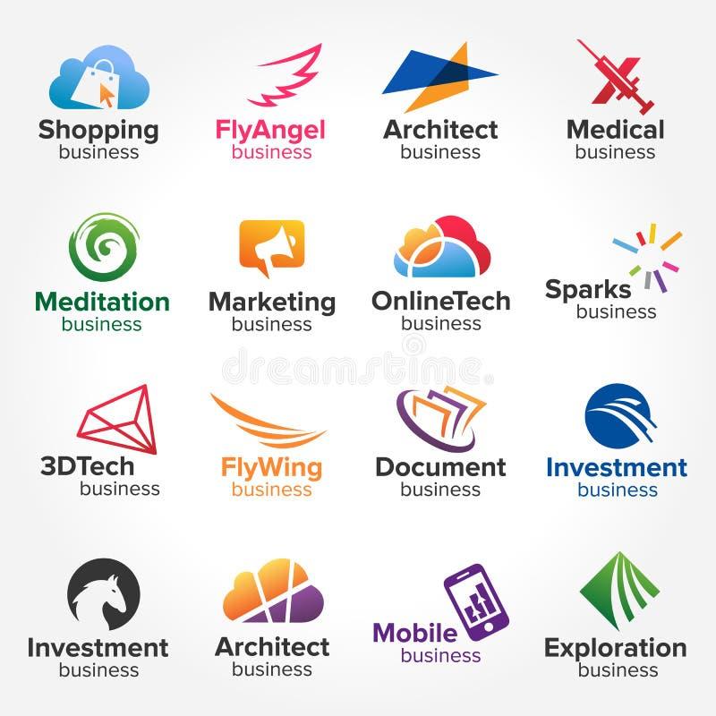 Minsta begrepp för logodesignsamlingar idérik designvektorillustration stock illustrationer