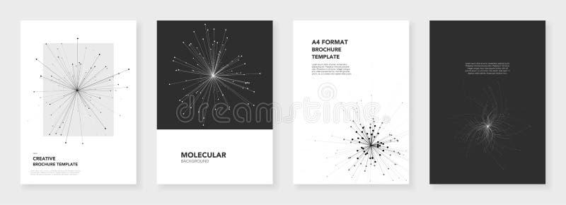 Minsta broschyrmallar Molekylmodeller stock illustrationer